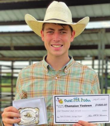 CALDWELL FFA member Cameron Suehs won the Tie Down Roping title at the Texas FFA Rodeo and took home a $ 1,000 scholarship.