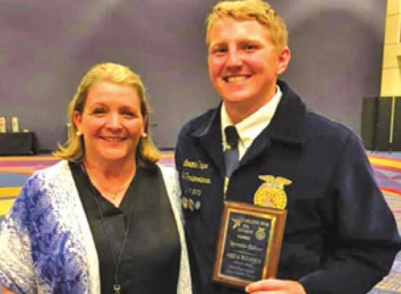 CALDWELL FFA member Laramie Pieper was recognized as a state qualifier at the recent Stars Over Texas banquet.