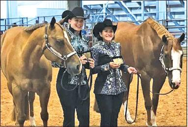 CALDWELL'S SABINE LAZO won several Senior division championships at the 2019 State 4-H Horse Show. She and her horse, The Ultimate Attitude, also were named the champion Senior Hunter Flat Horseman. She is picured with Claire Beesaw and her horse, Plain N Simple. Beesaw was named as the Champion Judged Horseman.