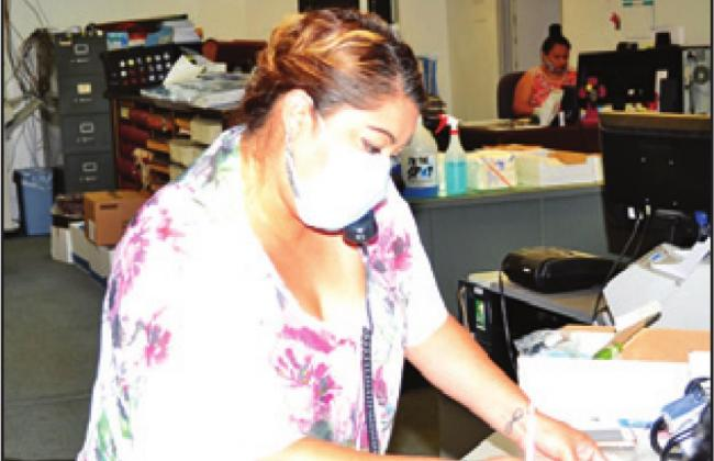 JESSICA LUCERO begins her work at the county tax assessor-collector's office.
