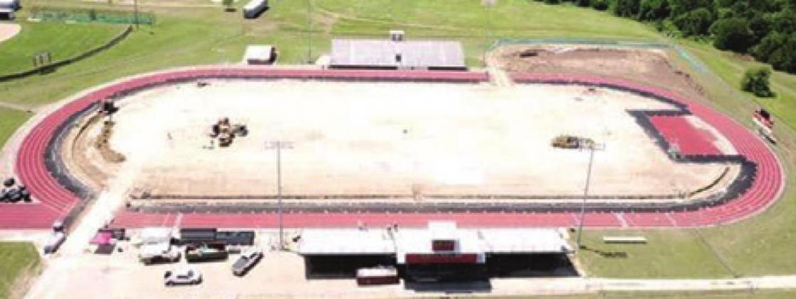 HORNET STADIUM WILL HAVE a new look in the fall. The ground is being prepared for new turf, costing the district $1.16 million. Hellas Construction Inc. of Austin is doing the installation.