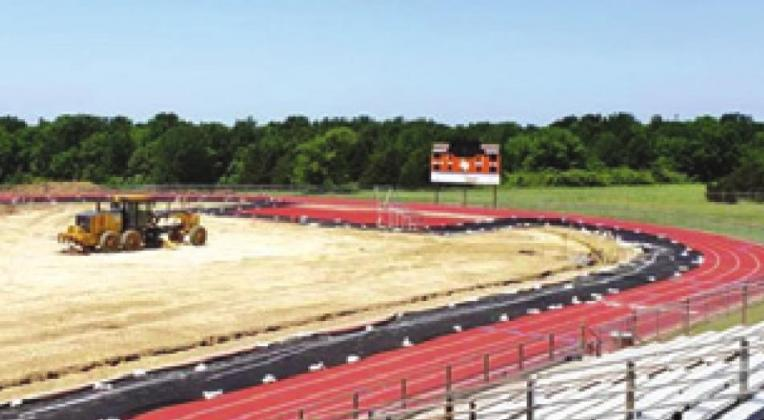 THE GROUND WORK is being done to prepare Hornet Stadium for its new turf. The turf is expected to be ready for football season.