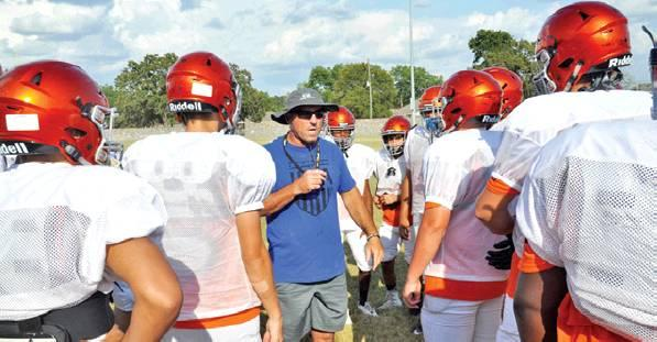 SOMERVILLE HEAD COACH Cal Neatherlin talks to his players during a recent practice session at The Rock in Somerville. Neatherlin is taking over as the Yeguas' new head football coach for the 2019 season. -- Tribune photo by Roy Sanders