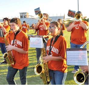 THE CALDWELL HIGH School Band performed at Meet the Hornets on Monday night, Aug. 12, before a large crowd.