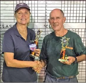 DORIS HIEDEN WON the Class A 30 title at the Kilgore Heat Beater Horseshoe Tournament on Friday. She is pictured with David Orban of Kilgore who places second.