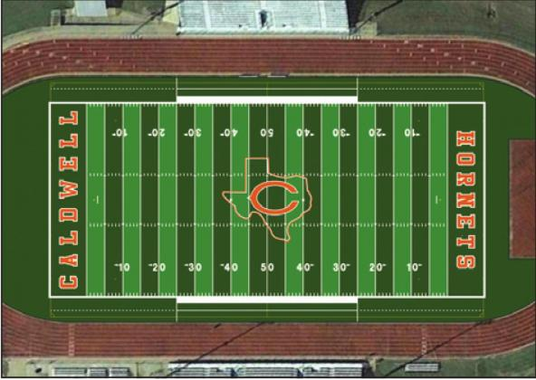 HORNET STADIUM WILL HAVE a new look in the fall. The Caldwell School Board approved a $1.16 million contract with Hellas Construction Inc. of Austin for a turf field. Pictured is a rendering of the field.